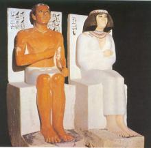Estatuas mortuorias del príncipe Rahotep y su esposa Nofret.