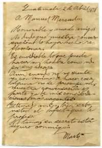 Carta inconclusa a Manuel Mercado: Testamento Político de José Martí