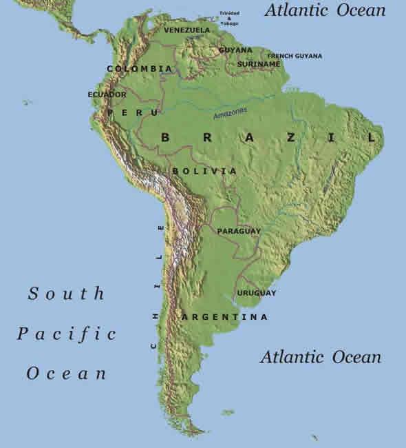 Mapa Geografico De Sudamerica.America Del Sur Ecured