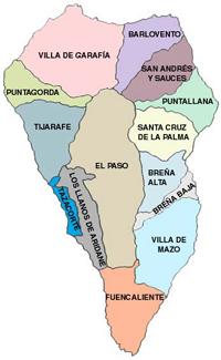 Mapa Municipios La Palma.Tijarafe Ecured