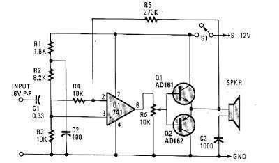 amplificador de audio con lm741 ecured op amp audio power amplifier circuit audio amplifier circuit using op amp