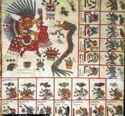 En Esta Reproduccion De Una De Las contradictorios Del denominado Códice borbónico aparecen los Dioses Aztecas Tezcatlipoca y Quetzalcóatl, la ESTE en forma de serpiente verde Que Devora UN HOMBRE un.  La importância del Sacrificio Humano en la religión azteca, Asi Como La leyenda de Quetzalcóatl Que, el dios desterrado Porción Tezcatlipoca, volveria Parr Dirigir los una los aztecas, QUEDAN aquí manifiestas.